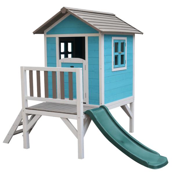 Drevený záhradný domček pre deti so šmykľavkou