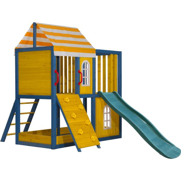 Drevený záhradný domček/záhradné ihrisko pre deti so šmykľavkou a lezeckou stenou